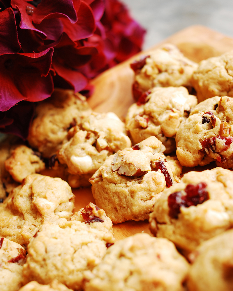 Cranberry White Chocolate and Pecan Cookies