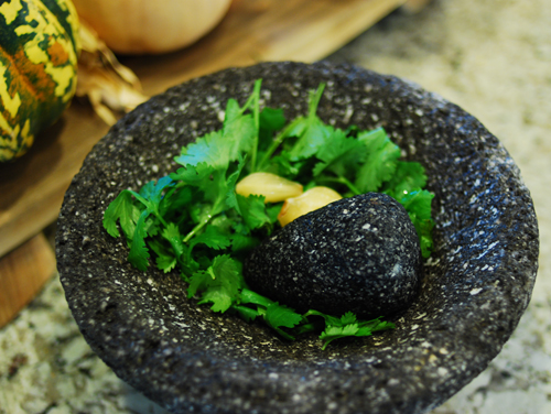Molcajete with Cilantro and Garlic