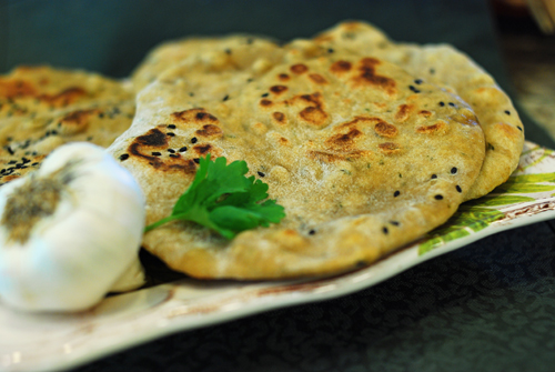 Garlic Cilantro and Green Chile Naan Bread